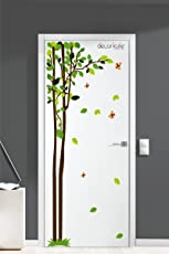 Creatick Studio Bird Luxury Tree Flower Door Wall Stickers