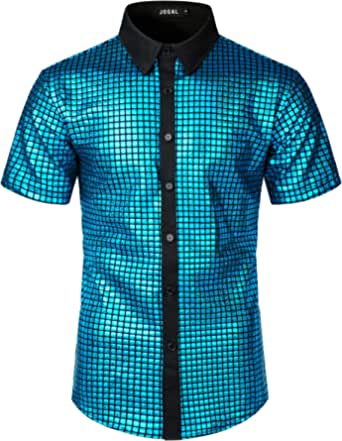 JOGAL Men's Dress Shirt Sequins Button Down Short Sleeve Shirts 70s Disco Party Costume