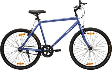 Mach City iBike Single Speed 26T Single Speed Steel Hybrid Cycle (Berry Blue) 21inch Frame