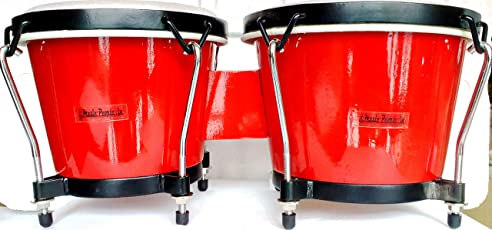 Music People Tunable Wooden Bongo (Bright Red Glossy) With Bongo Jute Bag & Spanner
