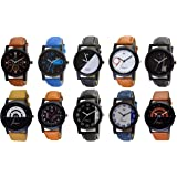 OM DESIGNER Analog Men's Watch (Assorted Dial Multicolour Strap) (Pack of 10)