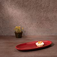 "Ellementry Picante Oval Ceramic Platter, 10"" X 4.25"" X 1"", Red"