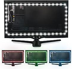 Luminoodle USB LED Hintergrund-Beleuchtung für TV in Farbe, 15 Farben, RGB LED-Bias Beleuchtung für HDTV-, TV-Bildschirm und PC-Monitor, LED-Strip Selbstklebend