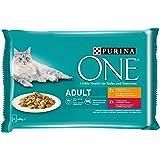 Purina One Umido Gatto Adult Filettini in Salsa con Pollo e Fagiolini, con Manzo e Carote - 48 Buste da 85 g Ciascuna (12 Con