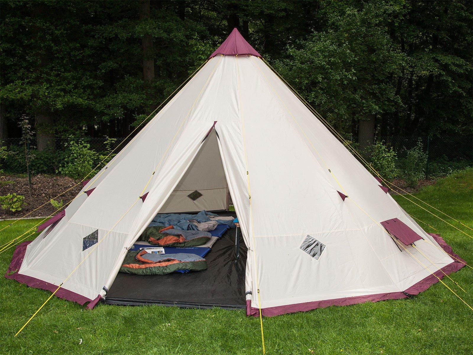 Skandika Teepee 301 Wigwam Style Indiana Tepee Tent, Sewn-In Groundsheet, 300 cm Peak Height, 3000 mm Water Column, Sand/Burgundy, 12-Person 2