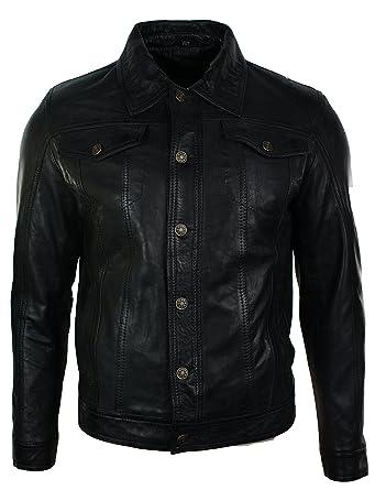 Mens Vintage Short Denim Style Retro Leather Jacket Black Casual ...