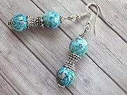 Boucles d'oreilles Thurcolas Blue Spirit en perles de jade blanc naturel teinté bleu et perles tibétaines