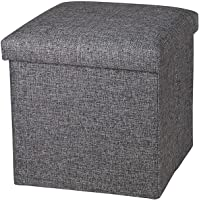 Fariox Living Fordable Storage Bins Box Ottoman Bench Container Organizer with Cushion Seat Lid, Cube(30X30X30 cm) (Grey…