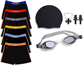 Swimming kit for Boys Kids & Men with Swimming Shorts, Silicone Swim Cap, Goggle, 2 Pair Ear Plugs and 1 Nose Clip Combo (Black) (19-21 Years)