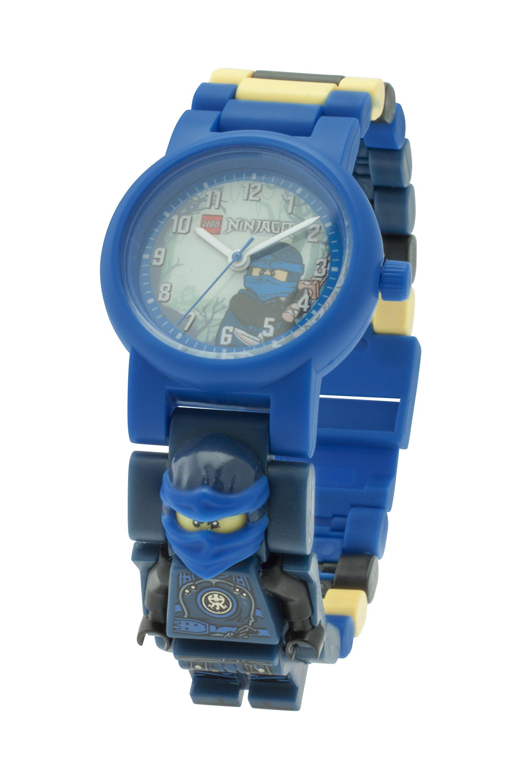 LEGO Ninjago 8020905 Hands of Time Jay Kinder-Armbanduhr mit Minifigur und Gliederarmband zum Zusammenbauen | blau/schwarz| Kunststoff | analoge Quarzuhr | Junge/Mädchen | offiziell