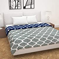 Divine Casa Microfiber Reversible Lightweight Double Bed Comforter (Abstract Navy Blue and Grey, 120 GSM)