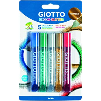 Giotto 545100 Pack de 5 Tubes de colle pailletée métallique 10,5 ml Multicolore