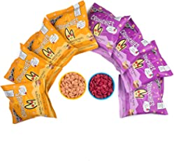 The Mumum Co. Cool Crunchies – Natural, Healthy Supergrain Roasted Puff Snacks for Kids Combo – (Pack of 8 Pouches) (4 Beetroot & 4 Cheese Tomato Pouches)…