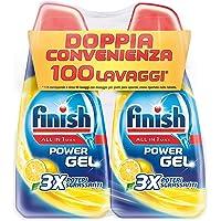 Finish Detersivo Per Lavastoviglie, 100 Lavaggi, Powergel, 2 Confezioni Da 50 Lavaggi, Limone
