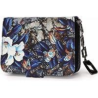 Geldbeutel Damen klein im Kurzformat, Geldbörse Damen mit Blumen und Blüten Muster im Mandala und Ethno Stil…