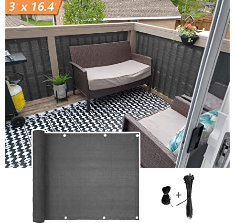 Garden Fence Cover Stripe SONGMICS PVC Privacy Screen Decorative Balcony Screen Charcoal GPJ035H 25 Mounting Clips UV Resistant Sunscreen Cover 0.19 x 35 m Roll Opaque Screening