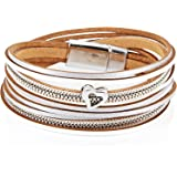 StarAppeal. braccialetto da donna in pelle con cuore, catena e chiusura magnetica in argento