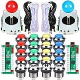 EG STARTS 2 Spelare Arkad Konkurrens DIY-kit USB-kodare till PC-joystick + 8 sätt klistermärke + Krom-LED-upplyst tryckknapp