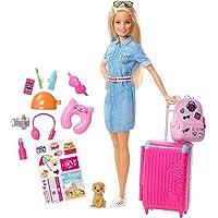 Barbie Voyage poupée blonde avec sa valise et son sac à dos, figurine de chien, autocollants et accessoires, jouet pour…