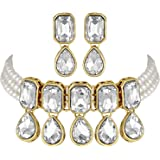 I Jewels 18K Gold Plated Traditional Handcrafted Crystal Stone Studded Pearl Choker Necklace Jewellery Set with Earrings For