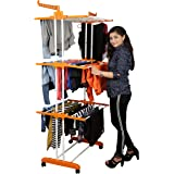 Magna Homewares Heavy Duty Steel ABS Plastic Grandis Plus 6 Racks Double Poles Cloth Drying Stand with Cloth Hangers-Blue