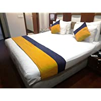 MKS INDIA Yellow and Blue Polyester Blend Design Bed Runner with 2 Cushion Covers