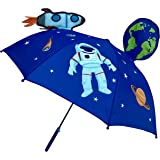 Paraguas 3D HECKBO® para niños con astronauta espacial | Con un cohete, la tierra, los planetas, y un satélite con ventanilla