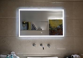 Badspiegel LED Spiegel GS042 mit Beleuchtung durch satinierte ...