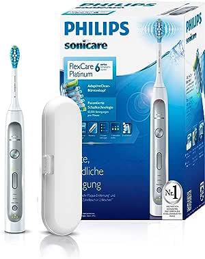 Philips Sonicare FlexCare Platinum Zahnbürste HX9111/20 - elektrische Schallzahnbürste mit Andruckkontrolle, 3 Putzprogrammen, 3 Intensitäten, Timer & Etui - schonend für Zähne & Zahnfleisch – Weiß
