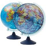 EXERZ 21 cm lysande glob med sladdfri LED-belysning dag och natt – växla mellan politisk karta/stjärnkonstellation – engelskt