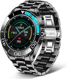 LIGE Smartwatch Uomo da 1,3 Pollici, con Touch Screen, Pressione Arteriosa, Orologio Fitness Impermeabile IP68 in Acciaio Inox con Cronometro per Android e iOS