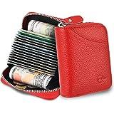 MUCO Tarjeteros para Tarjetas de Credito, RFID Wallet Pasaporte, Piel Auténtica, Titular de la Monederos con Cremallera (Rojo