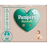 Pampers Naturello, 108 Pannolini Contenenti Cotone e Materiali Naturali Derivanti dalle Piante, 0% Profumo, Taglia 2 (3-6 Kg)