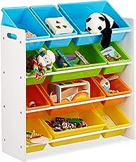 Relaxdays Kinderregal mit Regalboxen, Aufbewahrungsregal, Buntes Spielzeugregal, MDF+Kunststoff, in Verschiedenen Größen