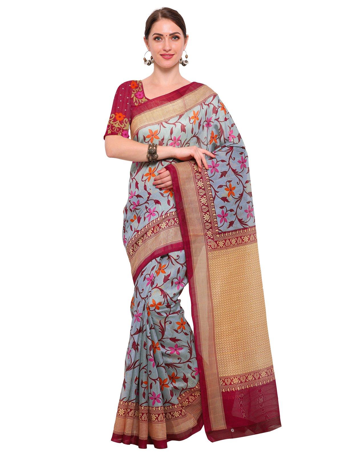 Kanchnar Women's Beige Bhagalpuri Silk Printed Saree