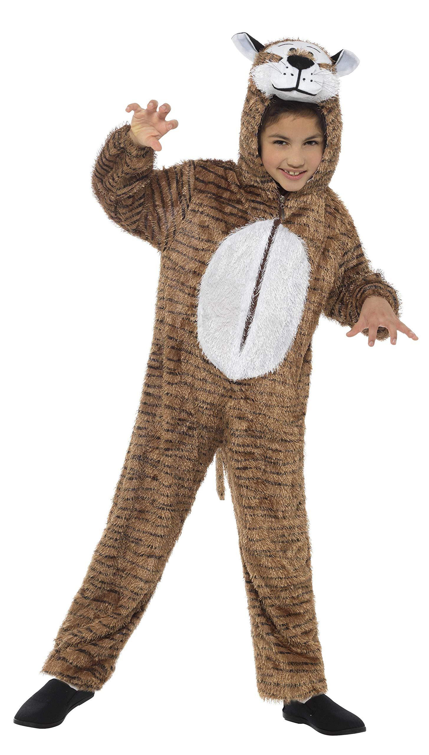 Smiffys-30802 Disfraz de Tigre, Incluye Enterizo con Capucha, Color marrón, S-Edad 4-6 años (Smiffy'S 30802)