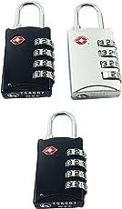 DOCOSS-Pack of 3-309-TSA Approved Lock 4 Digit for USA Number Locks Padlock for Luggage Bag Travelling International Password Locks Combination Lock Travel Locks ((Pack of 3) 2 Black,1 Silver)