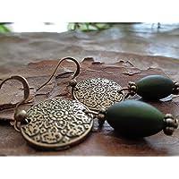DISCO MANDALA IN BRONZO E PERLA VERDE meravigliosi orecchini in bronzo e verde opaco