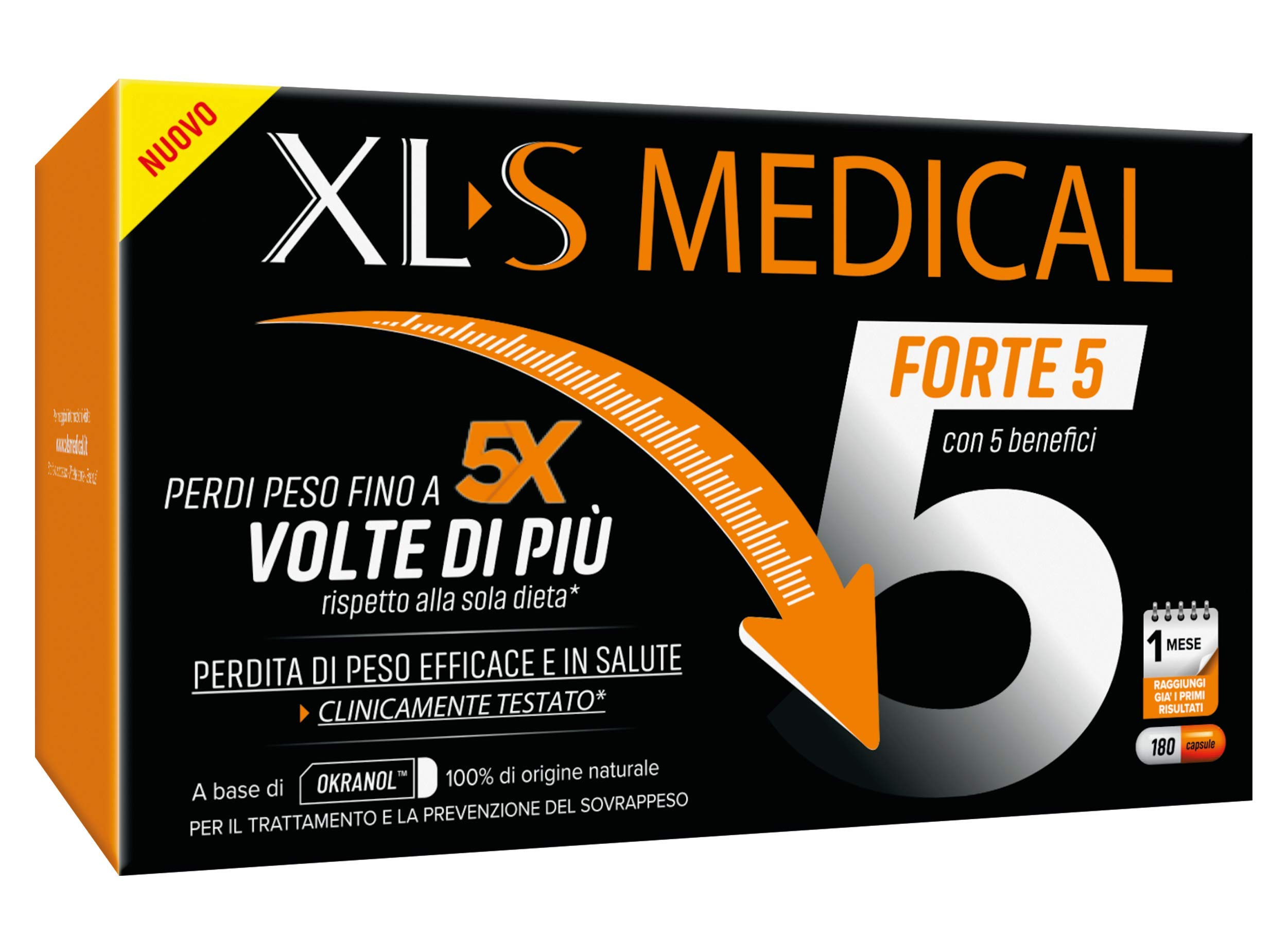 XL-S MEDICAL Forte 5 Pastiglie Dimagranti Forte, Trattamento Dimagrante con 5 Benefici in 1, App My Nudge Plan Inclusa… 1 spesavip