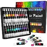 Acrylic Paint set, 24x12ml Tubes Artist Quality oil Acrylic paints water color Non Toxic vibrant colors, Oil paint suitable f