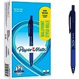 Paper Mate Alfa Penne a Sfera Retrattili, Punta media 1.0 mm, Inchiostro Blu, Blu, 12 Pezzi