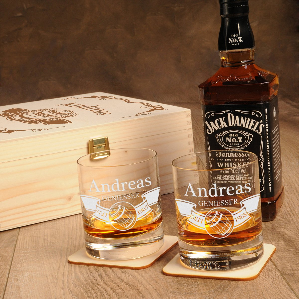 jack daniels whisky geschenk set inkl gravur. Black Bedroom Furniture Sets. Home Design Ideas