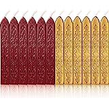 Bememo Lot de 12 bâtons de cire à cacheter avec mèches, style ancien (rouge vin clignotant et or)