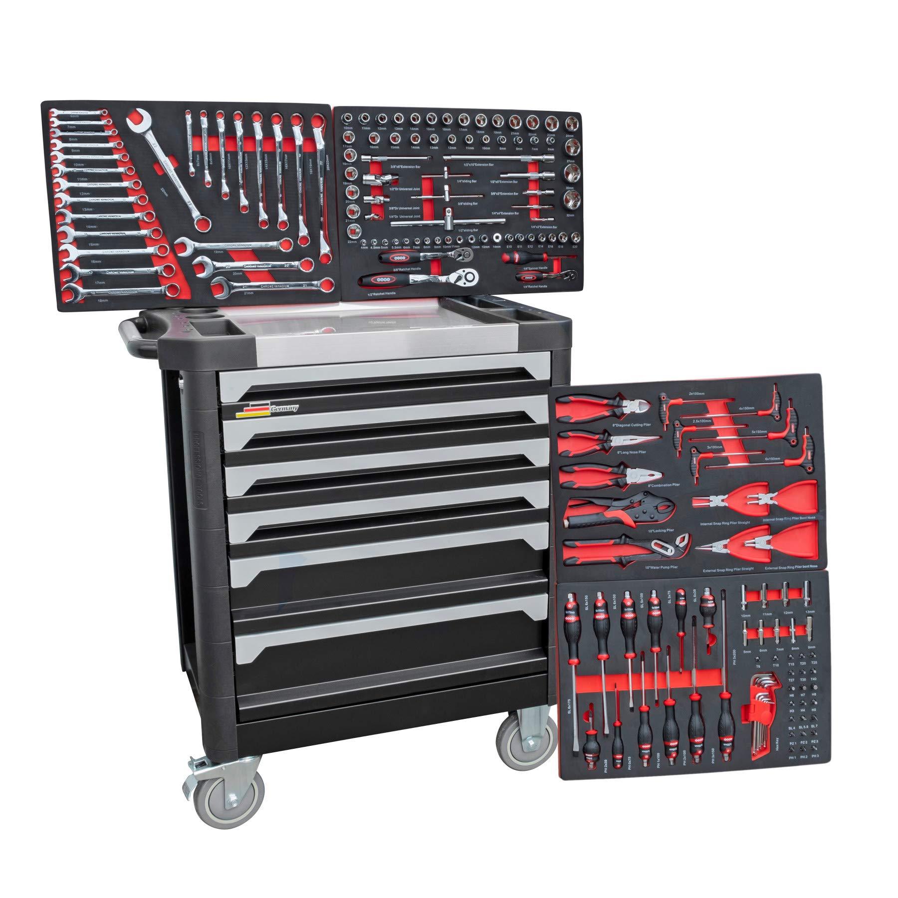 DeTec Werkstattwagen Royal Edition schwarz – 6 Schubladen / 4 gefüllt mit Werkzeug