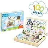 Peppa Pig Pizarra Infantil, Pizarra Magnetica Infantil y Puzzle Niños, Incluye Imanes Rotuladores y Tizas de Colores para Piz