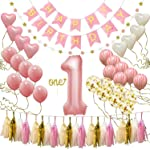 Happy Birthday Banner, First Birthday Decorations for Girl 1st Baby Girl Number 1 Balloon One Cake Topper, Star Garland...