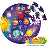 Webby Amazing Solar System Jigsaw Floor Puzzle 60 Pcs with 4 Double Sided Flashcards