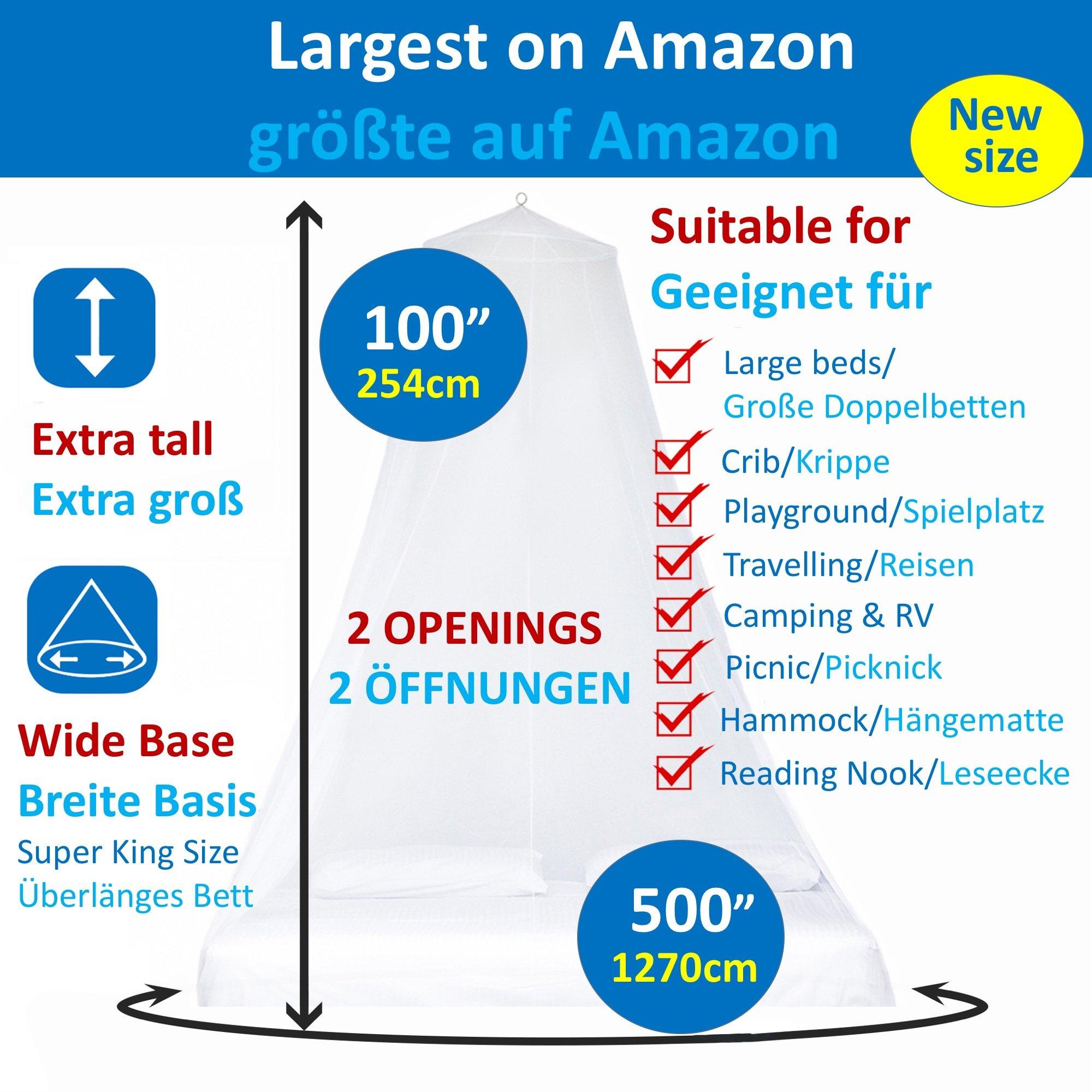 EVEN Naturals MOSKITONETZ Groß Für Doppelbett, Mückennetz Bett, Baldachin  Bett, Rundes Camping Netz, Betthimmel Vorhang, Insektenschutz ...