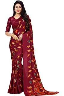E shop Printed Bollywood Art Silk Saree wine
