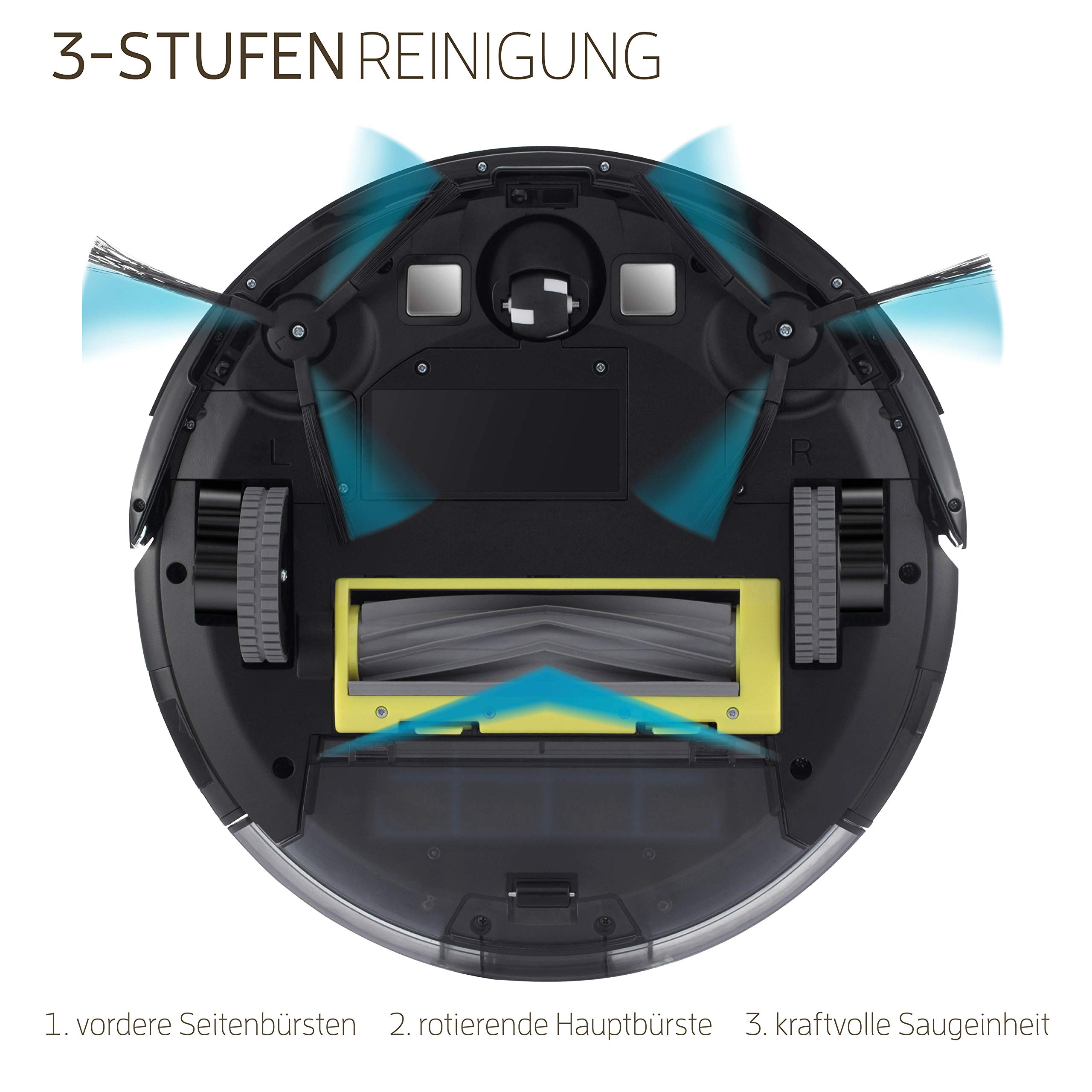 LIFE Robot A8 Saugroboter automatischer Roboterstaubsauger ideal für Tierhaare Fallschutz Auto Resume für Laminat…